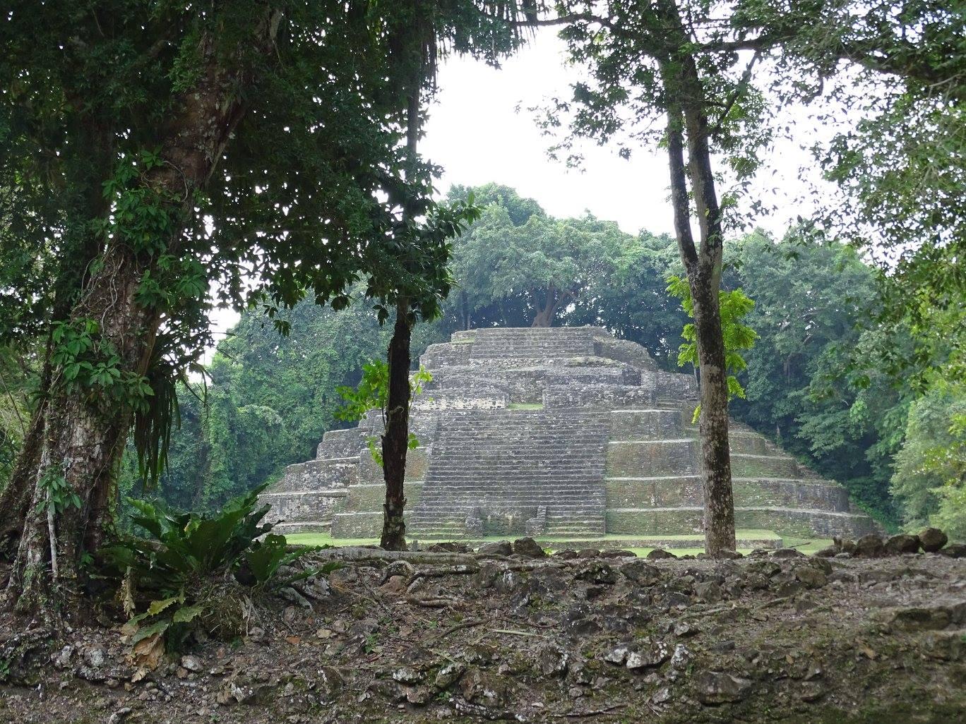Rivière et ruines du Lamanai